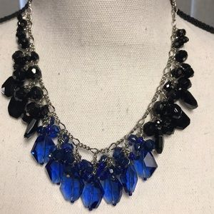 WHBM Blue Black Beads Silver Necklace